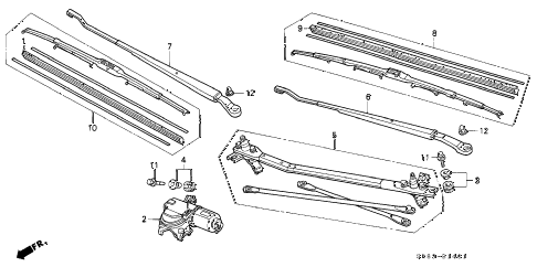 1995 civic EX 2 DOOR 4AT FRONT WINDSHIELD WIPER (DELCO) (2) diagram