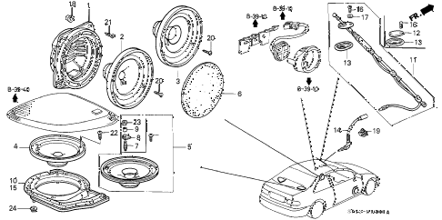 1994 civic EX 2 DOOR 5MT ANTENNA - SPEAKER diagram