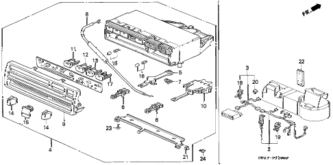 1995 civic DX 2 DOOR 5MT HEATER CONTROL diagram