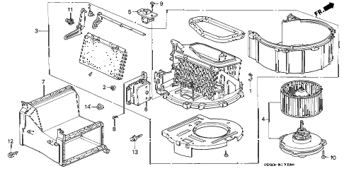 1995 civic EX 2 DOOR 4AT HEATER BLOWER diagram