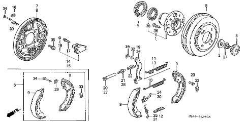 1994 civic EX 2 DOOR 4AT REAR BRAKE diagram