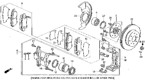 1995 civic EX 2 DOOR 4AT FRONT BRAKE (2) diagram
