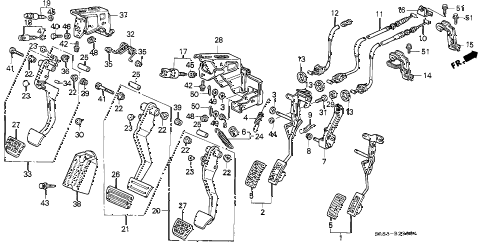 1994 civic EX(ABS) 2 DOOR 5MT PEDAL diagram