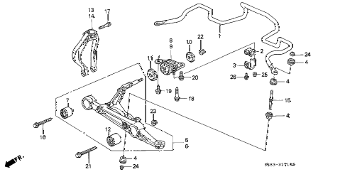 1994 civic EX 2 DOOR 5MT FRONT LOWER ARM diagram