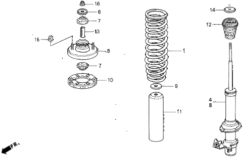 1994 civic EX 2 DOOR 5MT FRONT SHOCK ABSORBER diagram