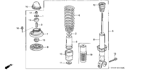 1994 civic EX(ABS) 2 DOOR 4AT REAR SHOCK ABSORBER diagram