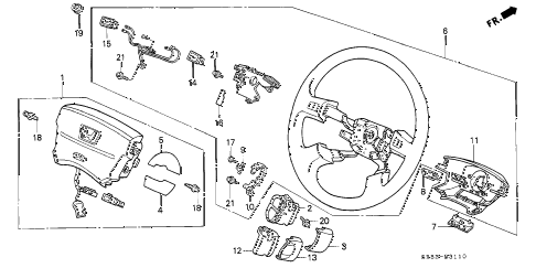 1995 civic DX 2 DOOR 5MT STEERING WHEEL (SRS) diagram