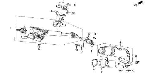 1994 civic EX(ABS) 2 DOOR 5MT STEERING COLUMN diagram
