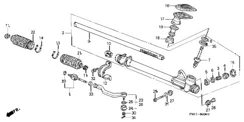 1994 civic DX 2 DOOR 5MT STEERING GEAR BOX diagram