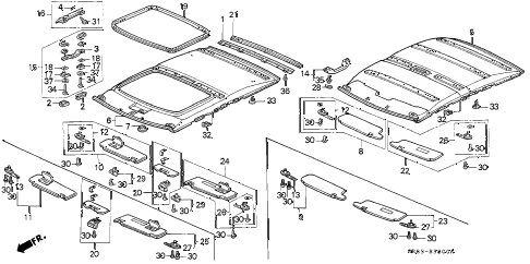 1994 civic DX 2 DOOR 5MT HEADLINER TRIM diagram