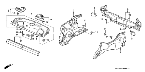 1995 civic EX 2 DOOR 4AT REAR TRAY - TRUNK GARNISH diagram