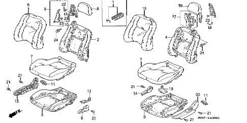1995 civic EX(ABS) 2 DOOR 5MT FRONT SEAT diagram