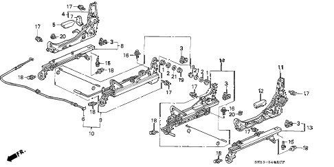 1995 civic EX(ABS) 2 DOOR 5MT FRONT SEAT COMPONENTS diagram