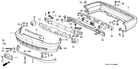 1995 civic DX 2 DOOR 5MT BUMPER diagram