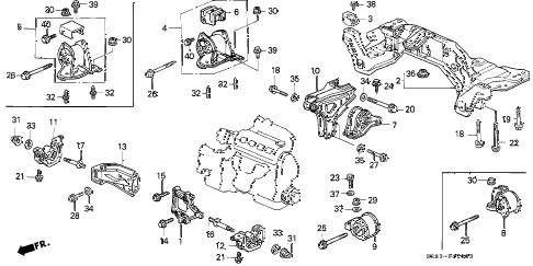 1993 civic DX 2 DOOR 5MT MT ENGINE MOUNT diagram