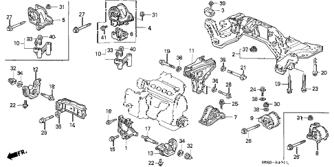 1994 civic EX 2 DOOR 4AT AT ENGINE MOUNT diagram