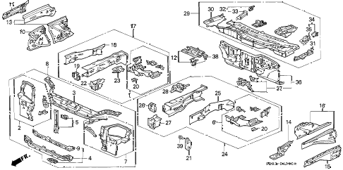 1994 civic EX 2 DOOR 5MT BODY STRUCTURE (1) diagram