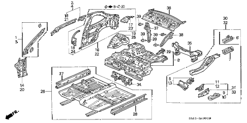 1995 civic EX(ABS) 2 DOOR 5MT BODY STRUCTURE (2) diagram