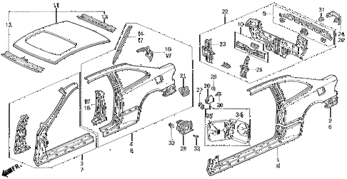 1995 civic EX 2 DOOR 5MT BODY STRUCTURE (3) diagram