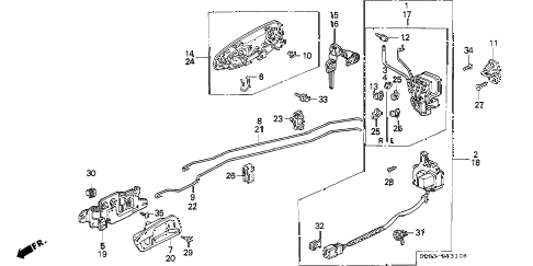 1995 civic EX(ABS) 2 DOOR 4AT DOOR LOCK diagram