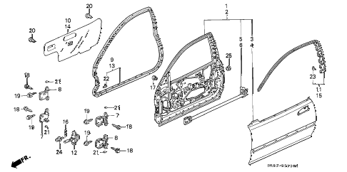 1993 civic EX 2 DOOR 5MT DOOR PANEL diagram