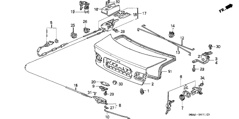 1994 civic EX(ABS) 2 DOOR 4AT TRUNK LID diagram