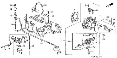 1993 civic DX 2 DOOR 5MT THROTTLE BODY diagram
