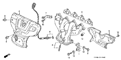 1994 civic EX(ABS) 2 DOOR 4AT EXHAUST MANIFOLD (2) diagram