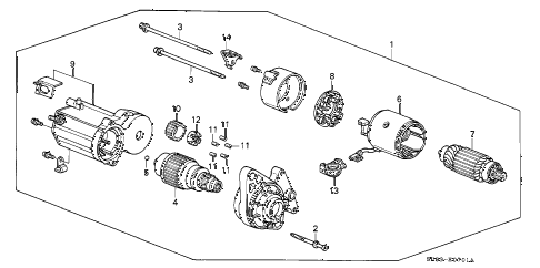 1993 civic EX 2 DOOR 5MT STARTER MOTOR (DENSO) (2) diagram