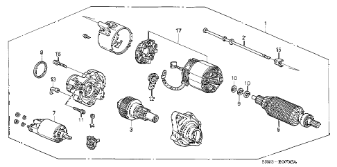 1995 civic DX 2 DOOR 5MT STARTER MOTOR (MITSUBA) (1) diagram
