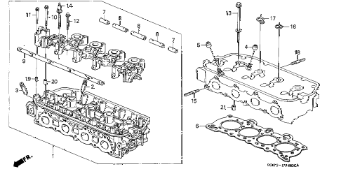1995 civic DX 2 DOOR 5MT CYLINDER HEAD (1) diagram