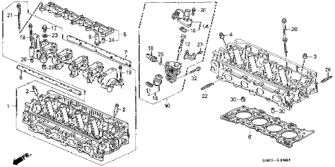 1994 civic EX(ABS) 2 DOOR 5MT CYLINDER HEAD (2) diagram