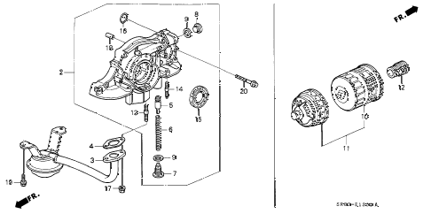 1995 civic EX 2 DOOR 4AT OIL PUMP - OIL STRAINER diagram