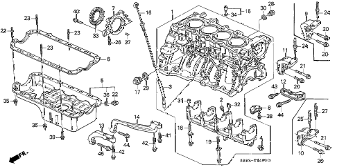 1995 civic EX(ABS) 2 DOOR 5MT CYLINDER BLOCK - OIL PAN diagram