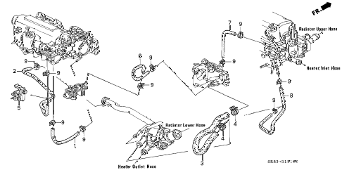 1994 civic DX 2 DOOR 5MT WATER HOSE (1) diagram