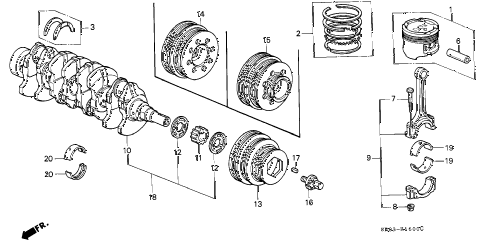 1993 civic EX 2 DOOR 5MT PISTON - CRANKSHAFT diagram