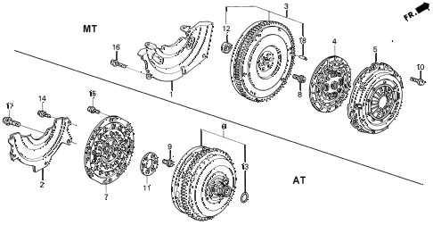 1993 civic EX-S 2 DOOR 4AT CLUTCH - TORQUE CONVERTER diagram