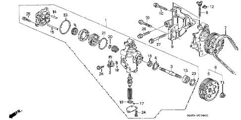 1994 civic EX(ABS) 2 DOOR 5MT P.S. PUMP diagram
