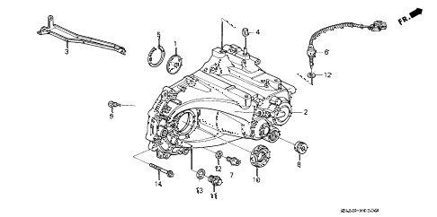 1994 civic EX 2 DOOR 5MT MT TRANSMISSION HOUSING diagram