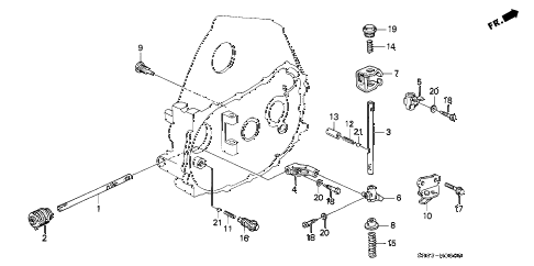 1995 civic DX 2 DOOR 5MT MT SHIFT ROD - SHIFT HOLDER diagram