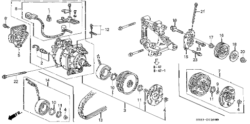 1993 civic DX 2 DOOR 5MT A/C COMPRESSOR (SANDEN) (1) diagram