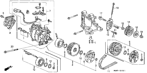 1994 civic EX(ABS) 2 DOOR 4AT A/C COMPRESSOR (SANDEN) (2) diagram