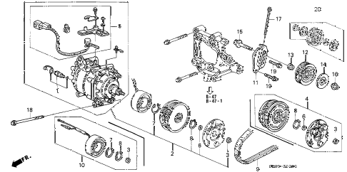 1995 civic EX(ABS) 2 DOOR 4AT A/C COMPRESSOR (HADSYS) (4) diagram