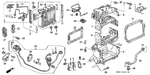 1995 civic EX(ABS) 2 DOOR 4AT A/C UNIT (3) diagram