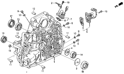 1992 prelude S 2 DOOR 4AT AT TORQUE CONVERTER HOUSING diagram
