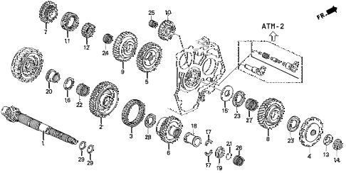 1995 prelude SI(SE) 2 DOOR 4AT AT COUNTERSHAFT diagram