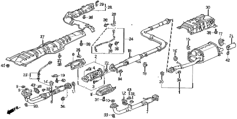 1994 prelude SI 2 DOOR 4AT EXHAUST SYSTEM diagram