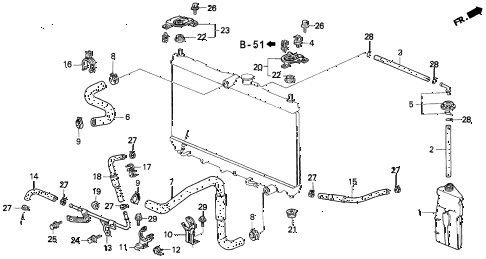 1994 prelude S 2 DOOR 4AT RADIATOR HOSE diagram