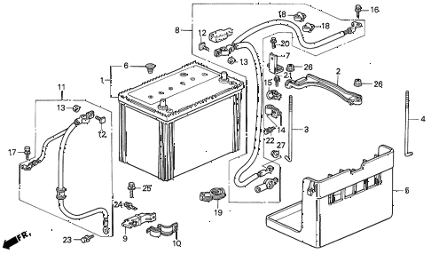 1994 prelude SI(4WS) 2 DOOR 4AT BATTERY - BATTERY CABLE diagram
