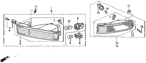 1995 prelude SI 2 DOOR 4AT FRONT TURN SIGNAL LIGHT diagram